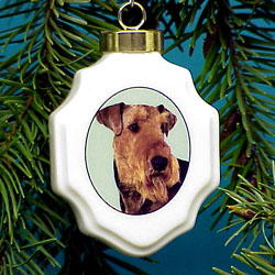 Airedale Terrier Christmas Ornament Porcelain