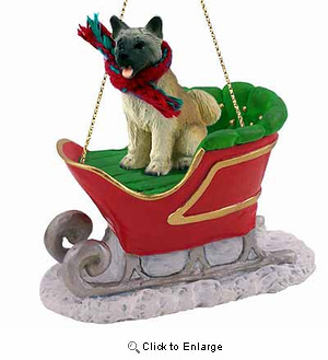Akita Sleigh Ride Christmas Ornament Fawn