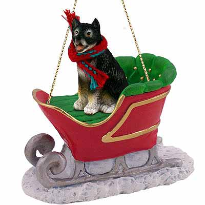 Alaskan Malamute Sleigh Ride Christmas Ornament