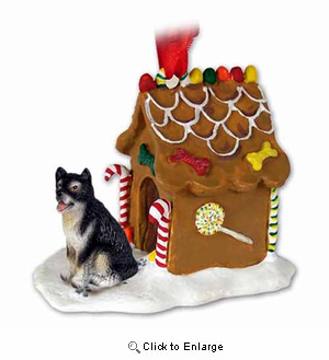 Alaskan Malamute Gingerbread House Christmas Ornament
