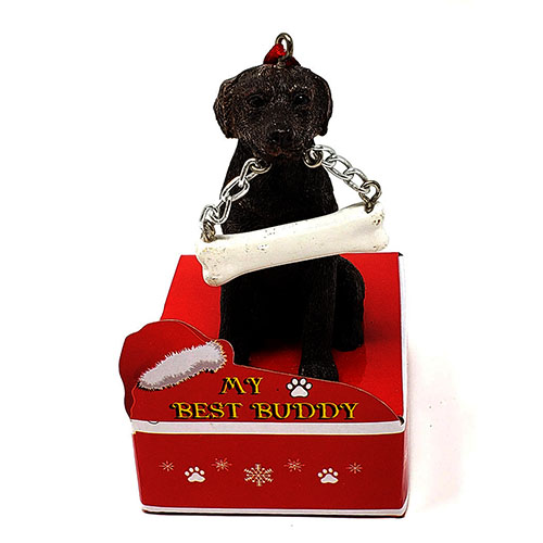 My Best Buddy Chocolate Lab Christmas Ornament