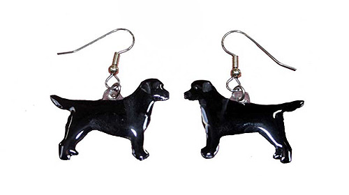 Black Lab Earrings Hand Painted Acrylic