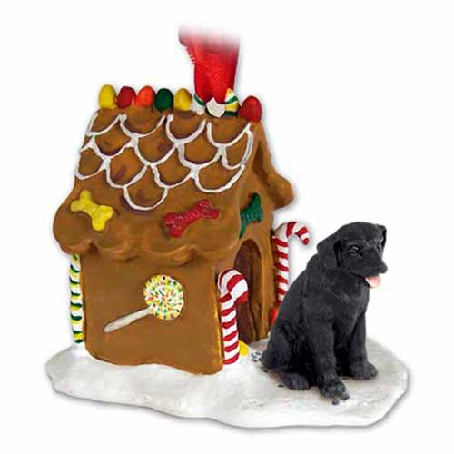 Black Lab Gingerbread House Christmas Ornament