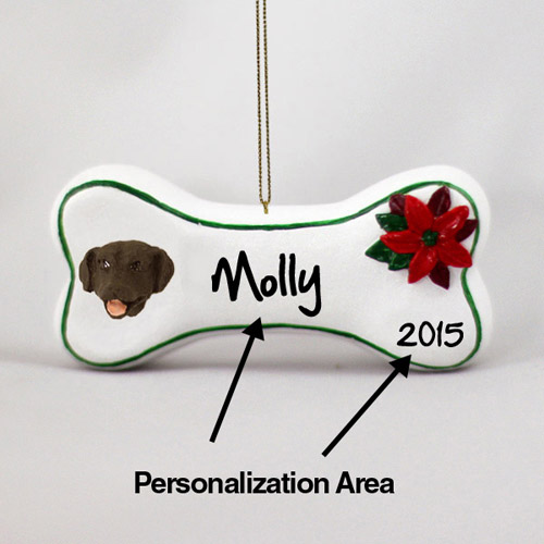 Chocolate Lab Personalized Dog Bone Christmas Ornament