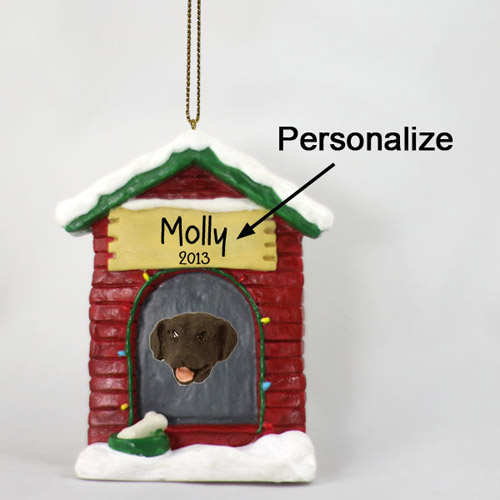 Chocolate Lab Personalized Dog House Christmas Ornament