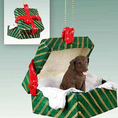 Chocolate Lab Gift Box Christmas Ornament