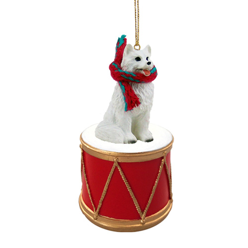 Little Drummer American Eskimo Dog Christmas Ornament