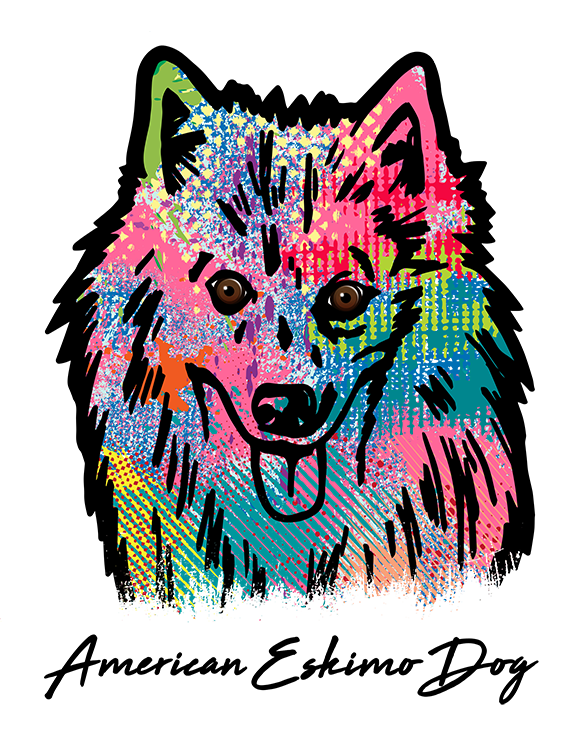 American Eskimo Dog T Shirt Colorful Abstract