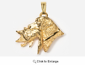 Labrador Retriever 24K Gold Plated Pendant with Duck
