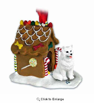 American Eskimo Dog Gingerbread House Christmas Ornament