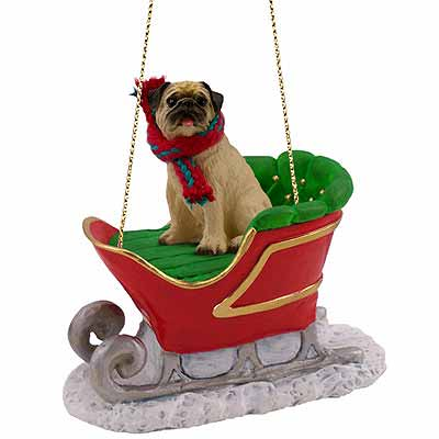 Pug Sleigh Ride Christmas Ornament Fawn
