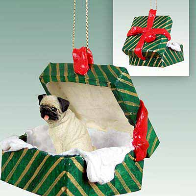 Pug Gift Box Christmas Ornament Fawn