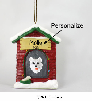American Eskimo Dog Personalized Dog House Christmas Ornament