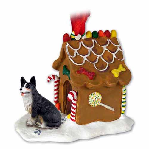 Corgi Gingerbread House Christmas Ornament Cardigan