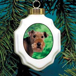 Lakeland Terrier Christmas Ornament Porcelain