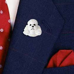 White Poodle Pin Hand Painted Resin