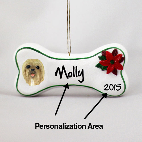 Lhasa Apso Personalized Dog Bone Christmas Ornament