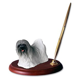 Lhasa Apso Pen Holder (Gray)