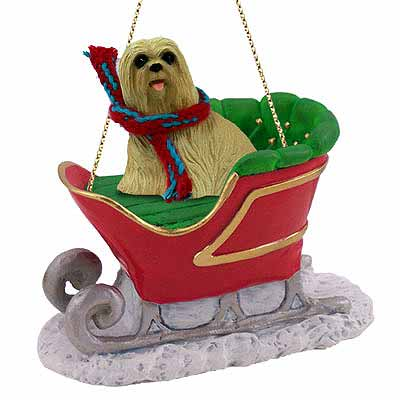 Lhasa Apso Sleigh Ride Christmas Ornament Blonde