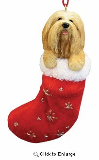 Lhasa Apso Christmas Stocking Ornament