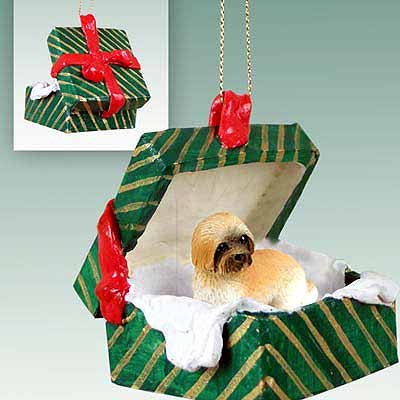 Lhasa Apso Gift Box Christmas Ornament Brown Sport Cut
