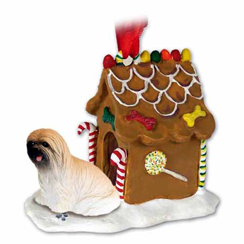Lhasa Apso Gingerbread House Christmas Ornament Brown