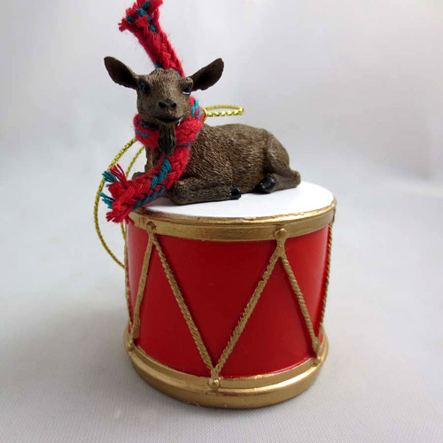 Little Drummer Brown Goat Christmas Ornament