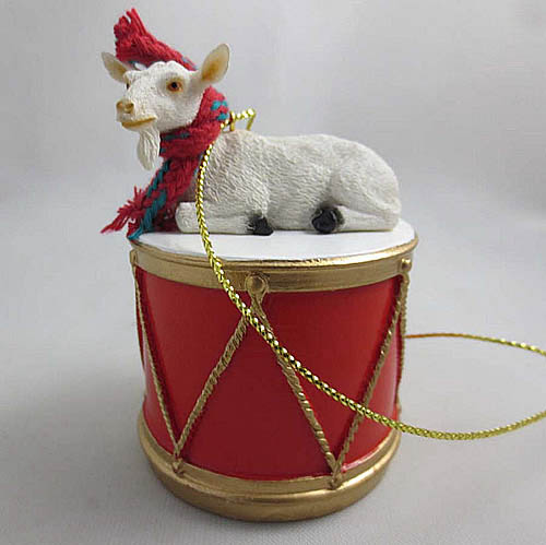 Little Drummer White Goat Christmas Ornament