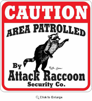 Attack Raccoon Sign