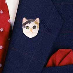 Calico Cat Pin Hand Painted Resin