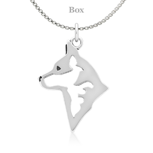 Sterling Silver Australian Cattle Dog Head Necklace