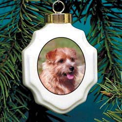Norfolk Terrier Christmas Ornament Porcelain