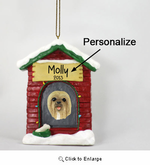 Lhasa Apso Personalized Dog House Christmas Ornament