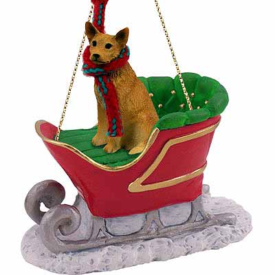 Australian Cattle Dog Sleigh Ride Christmas Ornament Red