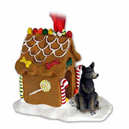 Australian Cattle Dog Gingerbread House Christmas Ornament Blue