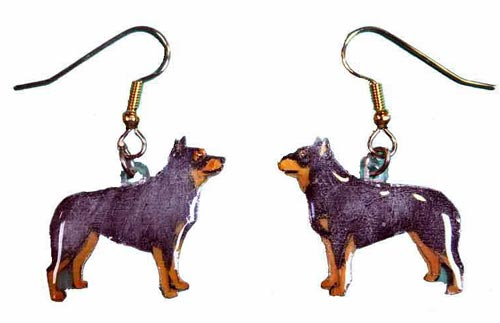 Australian Cattle Dog Earrings Blue Hand Painted Acrylic