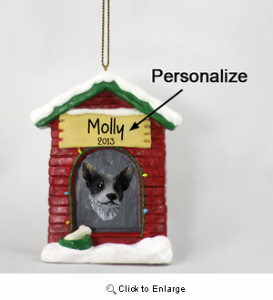 Australian Cattle Dog Personalized Dog House Christmas Ornament Blue