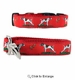 German Short Haired Pointer Collar & Leash Red
