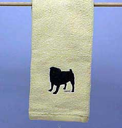 Black Pug Hand Towel
