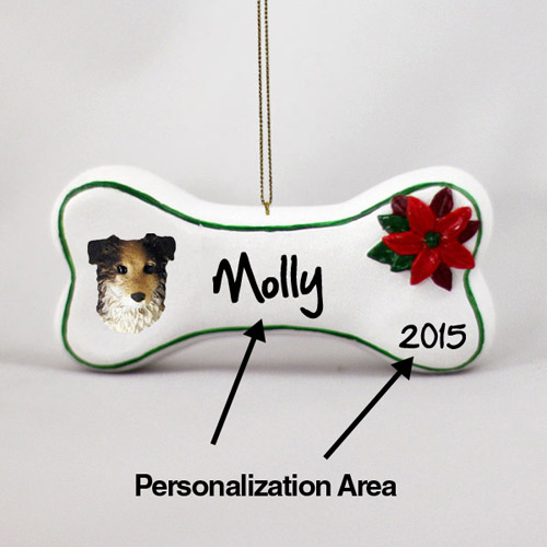 Australian Shepherd Personalized Dog Bone Christmas Ornament Blue