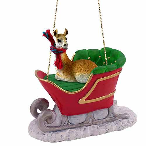 Llama Sleigh Ride Christmas Ornament