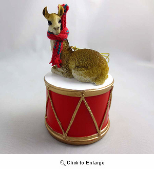 Little Drummer Llama Christmas Ornament
