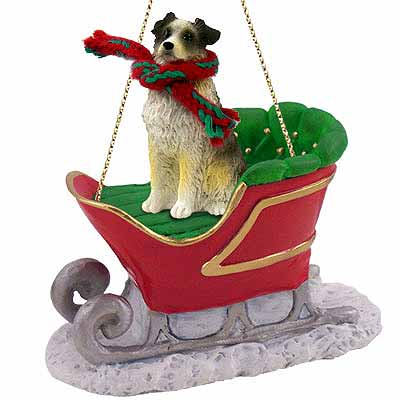 Australian Shepherd Sleigh Ride Christmas Ornament Blue Docked Tail