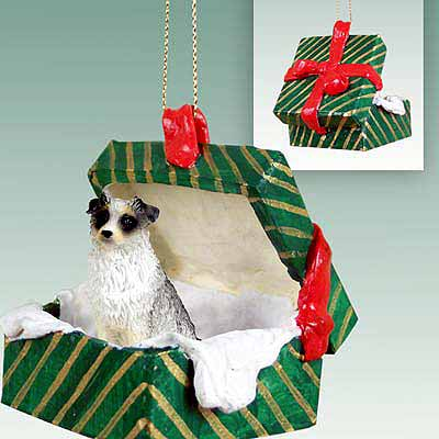 Australian Shepherd Gift Box Christmas Ornament Blue