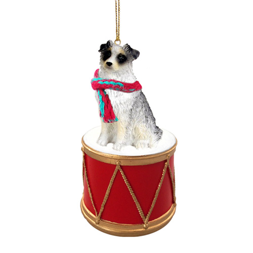 Little Drummer Australian Shepherd Blue Christmas Ornament