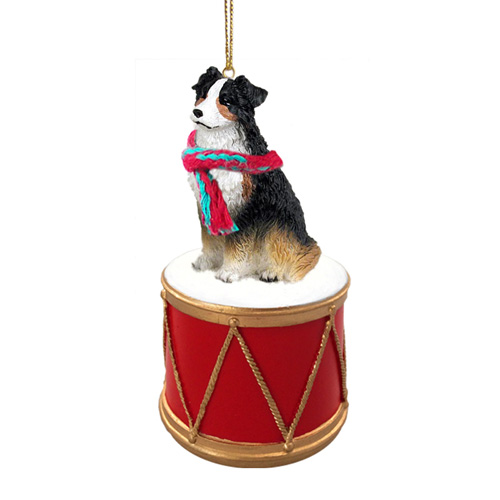 Little Drummer Australian Shepherd Tricolor Christmas Ornament