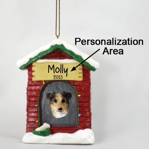 Australian Shepherd Personalized Dog House Christmas Ornament Brown