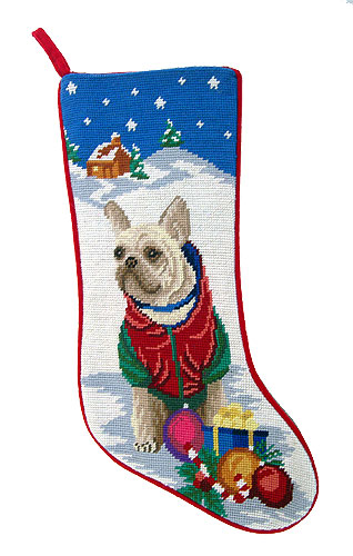 French Bulldog Christmas Stocking Fawn