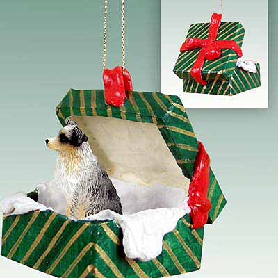 Australian Shepherd Gift Box Christmas Ornament Blue Docked Tail