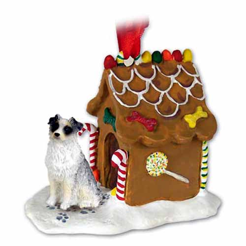Australian Shepherd Gingerbread House Christmas Ornament Blue